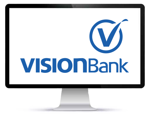 VISIONBank logo on a computer screen