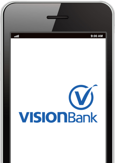 VISIONBank logo on a cell phone screen